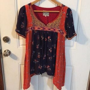 Anthropologie Floreat Floral Patchwork Tunic Top